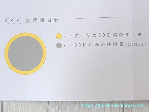 RE(アールイー)プラセンタ美容液 使用目安量